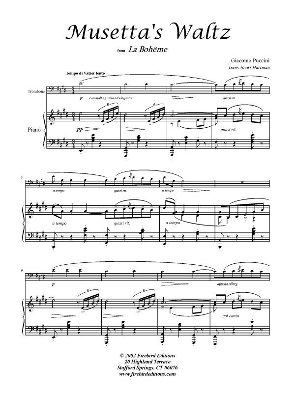 MUSETTA'S WALTZ SONG (Cornet) - Parts & Score, Solos, Howard Snell Music